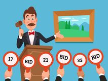 Man on stand leading auction hold gavel. People make bets on auctions bidding by raising bid paddles with numbers vector. Man on stand leading auction hold gavel Royalty Free Stock Image