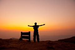 Free Man Stand On Mountain Royalty Free Stock Image - 24498956