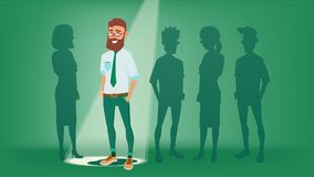 Man Stand Out From The Crowd Vector. Choosing Worker. Smiling Business Man. Standing Office Workers. Job And Staff vector illustration