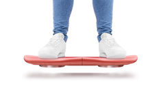 Man stand red hover board scooter isolated. Smart hoverboard movie scoter. No wheel futuristic transport device. Future transportation technology. driver Stock Images