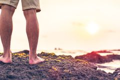 The man stand on the rock royalty free stock images