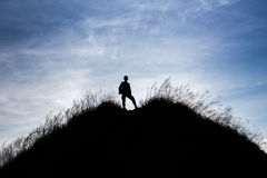 The man. Stand on the top of hill royalty free stock photos