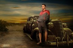 Man, Stand Up, Near, Car, Light Royalty Free Stock Images