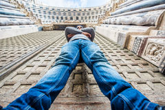 Man standinf in front of San Lorenzo cathedral in Genoa, Italy - bottom up view Stock Images