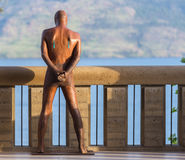 Man standing akimbo. Man standing overlooking a lake with legs akimbo Royalty Free Stock Images