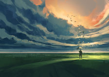 Man standing alone in the meadow. Painting of man holding an umbrella standing alone in the meadow watching at the cloudy horizon Stock Images