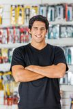 Man Standing Arms Crossed In Hardware Store Stock Image