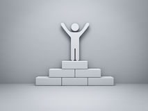 Man standing with arms wide open on the winning podium concept with shadow Stock Image