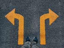 Free Man Standing Arrow Direction Choice Left And Right Sign Conceptual Stock Photos - 157726773