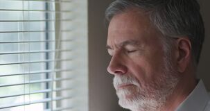 Man Standing At A Window With A Serious Look Stock Images
