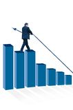 Man standing on bar chart Royalty Free Stock Photos