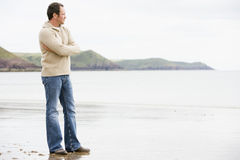 Man standing on beach Royalty Free Stock Images