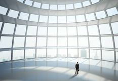 Man standing in big hall Royalty Free Stock Photo