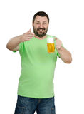 Bartender posing with big lager mug. Bearded bartender posing with big lager mug on white background Royalty Free Stock Photography