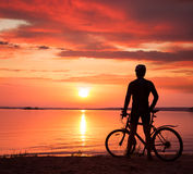 Man Standing with a Bike at Sunset Stock Images