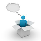 Man standing in the box with thought bubble. Think outside the box concept, man standing in the box with thought bubble above his head over white background Stock Photo