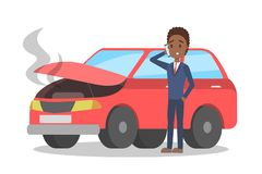 Man standing at the broken car and calling stock illustration
