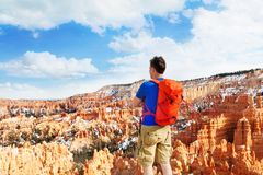 Man standing with Bryce Canyon National Park view Stock Image