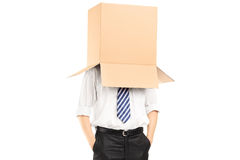 Man standing with a cardboard box on his head Royalty Free Stock Image
