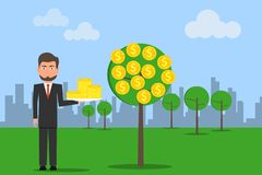Man standing while catching a dollar coin from money tree. Money growth concept. Dollar signs royalty free illustration