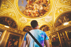 Man standing in cathedral Royalty Free Stock Images