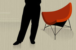 Man Standing with Chair. Man standing in front of modern chair; abstract with reflection. Easy-edit layered vector file stock illustration