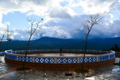 Man standing in circle of Chefchaouen royalty free stock images