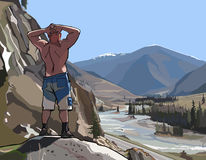 Man standing on a cliff in the mountains and river Stock Images