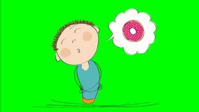 Animation of a hungry man thinking about donut with pink strawberry topping, animated hand drawn cartoon character, on chroma key stock video