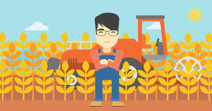 Man standing with combine on background. An asian farmer standing on the background of combine harvesting wheat. Young farmer working on a wheat field. Vector Royalty Free Stock Photo