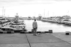 Man Standing On A Concrete Dock Near Body Of Water Stock Image