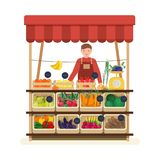 Man standing at counter of greengrocer`s shop or marketplace and selling fruits and vegetables. Male seller at place for. Selling food products on local farmers stock illustration