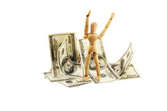 A man standing on the dollar bills Royalty Free Stock Photography