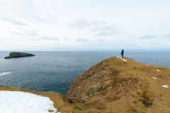 Man standing on the edge of cliffs, Shetland Islands Royalty Free Stock Image
