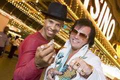 Man Standing With Elvis Presley Impersonator Stock Photography
