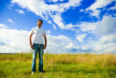 Man standing in a field Royalty Free Stock Photography