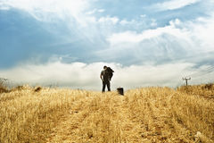Man standing in a field. Observing the horizon stock images