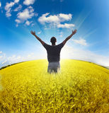 Man standing on field under blue sky. Man standing on the field under blue sky royalty free stock photo