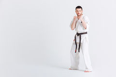 Man standing in fight stance Royalty Free Stock Photo