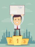 Man standing in first place on a podium Royalty Free Stock Image