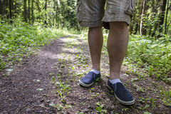 A man standing on the footpath after a long walk in the woods Stock Photography