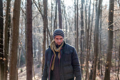 Man standing in the forest Royalty Free Stock Photos