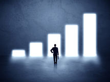 Man standing in front of a chart Stock Images