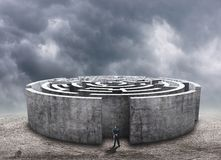 Man standing in front of the circular labyrinth Stock Photography