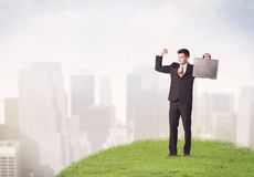Man standing in front of city landscape Royalty Free Stock Photo