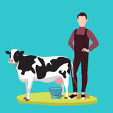 Man standing in front of cow cattle farming livestock. Vector Stock Image