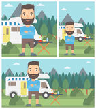 Man standing in front of motor home. Royalty Free Stock Photography