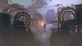 Man standing on giant gears in dark city