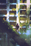Man standing on giant trees looking at abandoned building. Digital art of the man standing on giant trees looking at abandoned building with ivy overgrown vector illustration