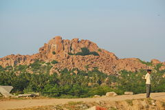Man standing in Hampi, India Stock Images